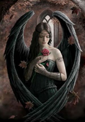 Anne Stokes- Angel Rose - Greetings Card
